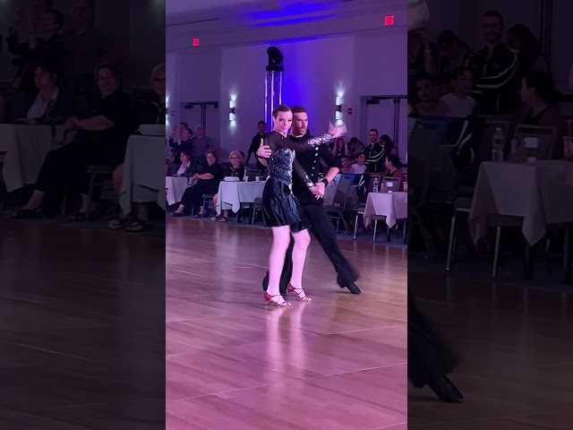 Anna competing her Cha Cha with Sergiy at the Yankee Classic!